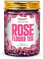 YOGAFY - Organic Rose Flower Tea | Enhances Mood Caffeine Free Herbal Tea |100g - 100 Cups |