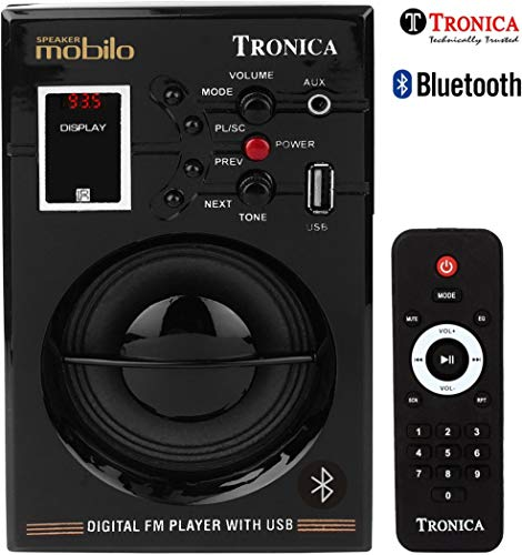 Tronica Portable Rechargable Bluetooth Speaker with Remote (Black)