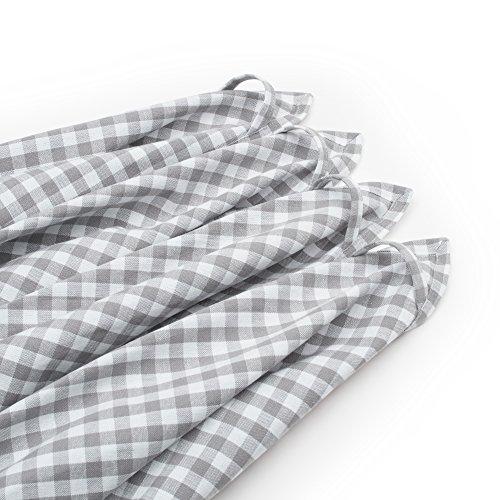 FILU Geschirrhandtücher 4 Stück (100% Baumwolle) Grau/Weiß kariert 45 x 70 cm (Farbe und Design wählbar); hochwertig gefertigte Küchenhandtücher/Geschirrtücher im skandinavischen Landhaus-Stil