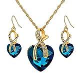 Hanessa Damen-Schmuck Set Halskette & Ohrringe in Gold Vergoldet Kristall-Steine in Herz-Form in Türkis Geschenk für die Frau/Freundin
