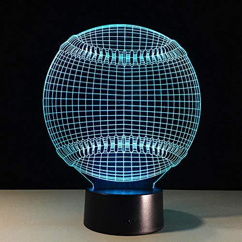 Baseball 3D Licht Hut Sport 7 Farbwechsel LED Nacht Touch Schreibtisch Tischlampe Kind Kind Schlaf Geschenk Fernbedienung Dekoration (Mit Licht Hut Spielzeug Harten)