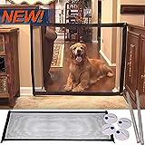 Lomire® Porte de sécurité magique portable de chiens, barrières de sécurité rétractable/filet de l'isolation pliant de petits animaux, outil parfait pour escalier cuisine ou salle à manger, 180 x 72cm