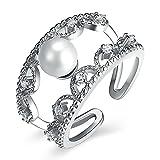 Coniea - Anillos de Plata de Ley para Mujer, con circonitas y Perlas, tamaño P 1/2