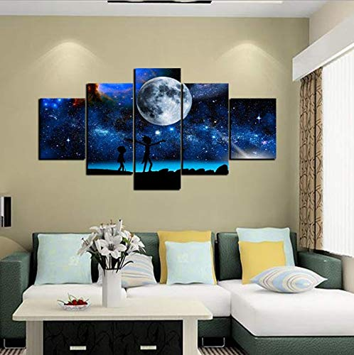 TKFY Wand-Kunst-Drucke auf Leinwand dunklen Himmel mit Hellen Mond und Menschen auf Leinwand Home Hotel Büro Studie Dekoration innen gerahmt 5Panels