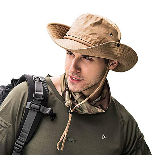 Dsaren Bucket Hat Herren Faltbar Anglerhut Breiter Rand UV Schutz Safari Hut Zum Wandern Camping Reisen Angeln (Khaki) Safari-hut Khaki