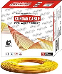 Kundan cable electrical wire 1 sq mm, 90 meter roll, yellow color