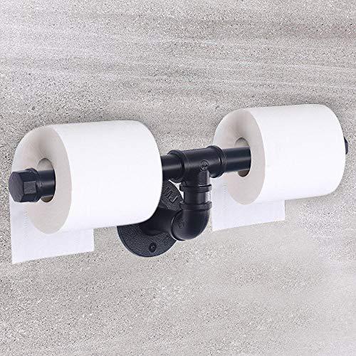 OYIPRO Doppelt Toilettenpapierhalter WC Papierhalter Handtuchhalter Rollenpapierständer Bad-accessoires Industrielle Wasserrohr für Bad Küche