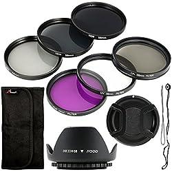 Juego de 6UV CPL ND Filtro + Parasol + Soporte de 58mm para Canon EOS Canon EOS Rebel XSi T4i T3i 70d 60d 700d 650d 1100d 1000d 600d 50d 550d 1DX 5d mark 5D25D36Rebel XSi T4i T3i lf134