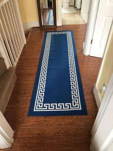 Maschinenwaschbar Griechischer Schlüssel, Dreieck Diamant Designs Hall runner- Treppe Läufer-hallway-passage Korridor Küche rutschfeste Teppiche Matten (blau, 80x 300cm (2'15,2cm X9' 10)) (10x10 Teppiche)
