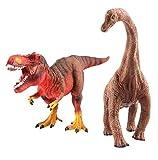 deAO Dinosaur Toys - Figuras Decorativas pintadas a Mano con Aspecto Realista, diseño prehistórico (T-Rex y diplodocuments)