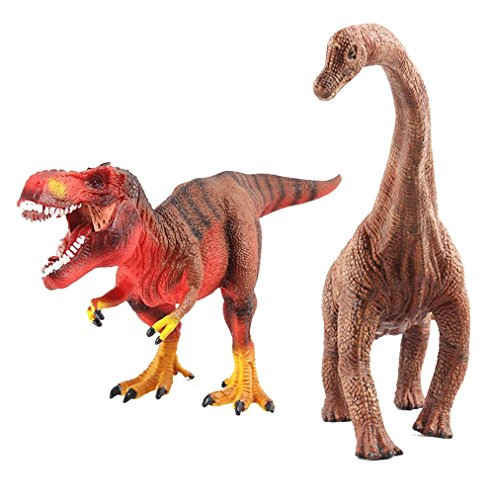deAO Dinosaur Toys Hand Painted Realistico Prehistoric cifre (T-Rex e Diplodocus)