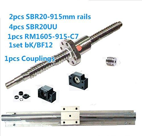 "GOWE ""offerta è per 2 binari SBR20-915 mm 4 salva 1605-915 SBR20UU RM-C7 ballscrews perline bK/Innesto BF12 di fissaggio in dotazione"