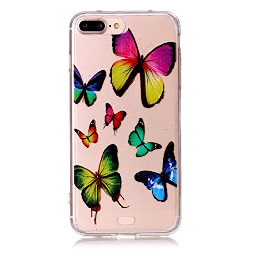 iPhone 7 Plus Transparente Etui, iPhone 7 Plus Coque, Très Mince Fine Souple Flexible TPU Gel Silicone Anti-rayures Anti Choc Case pour Apple iPhone 7 Plus 5.5 inch - Plumage Windbell Motif color-7