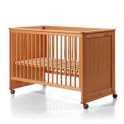 Cuna bebé color Miel. Cómoda y segura. Lateral abatible. 3 posiciones somier. Tamaño 60x120 cm.