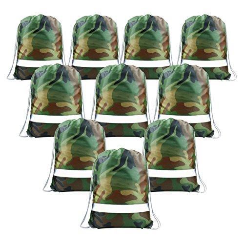 Camouflage Turnbeutel 10 Stück Party Kindergeburtstag Mitgebsel für Jungen, Motto-Party Gastgeschenke, Kinder Give Aways Beutel mit Reflexstrifen -