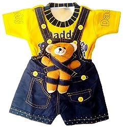 Miss U Baby Boy High Quality Soft Denim Dungaree Set With T-Shirt (YELLOW)