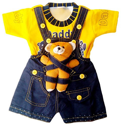 Miss U Baby Boy High Quality Soft Denim Dungaree Set With T-Shirt (YELLOW)