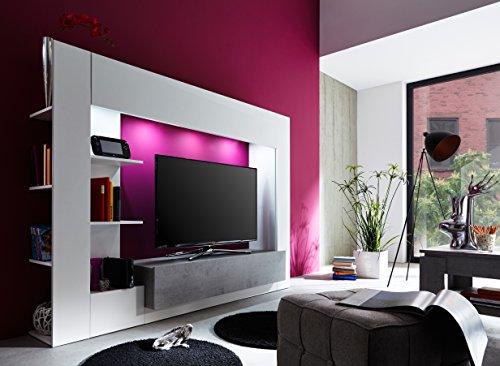 trendteam HY00135 Wohnwand TV Möbel Weiß, Absetzungen Beton Industry Nachbildung, Stellmaß BxHxT 209 x 156 x 42 cm - 4