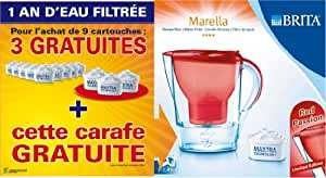 Brita 1006119 Lot 1 An: Pack 9 Cartouches Maxtra + 3 Cartouches + 1 Carafe Marella Rouge