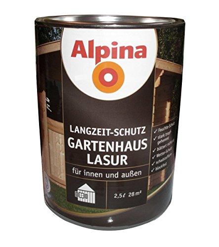 Alpina 2,5 L Holzlasur, Gartenhaus Lasur, Mittelschichtlasur, Teak