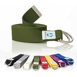 #DoYourYoga Cinturón de Yoga »Madira« / Correa para Yoga de algodón 100% con un Cierre Estable en Forma de Anillas metálicas / 250 x 3,8 cm/Verde
