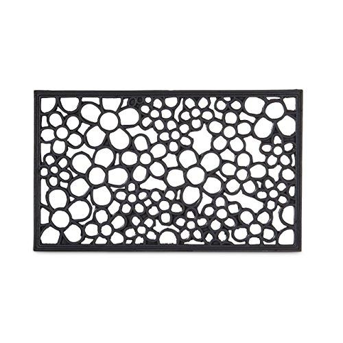 Relaxdays Fußabtreter Gummi mit Blumen als Fußmatte oder Schuhabtreter wetterfest rutschfest mit Spezialnoppen-Profil für Innen- und Außenbereich auch bei Nässe HBT: 0,5 x 75 x 45 cm, schwarz