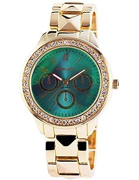 Excellanc Damenuhr mit Metallarmband Armbanduhr Uhr Türkis 150706000004