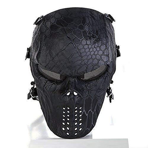 ce Maske Totenkopf Skelett Maske für Airsoft/BB Gun/CS Spiel und Party Black-god ()