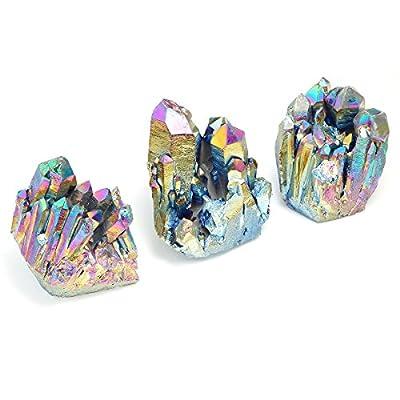 qgem natur Titan überzogen Mehrfarbig Kristall Quarz Cluster Geoden Druzy Home Dekoration Edelstein Mineral SPECIMEN, 3,5cm zu 5,1cm von QGEM auf Du und dein Garten