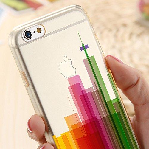 Für iPhone 8 Plus Hülle Silikon von OOH!COLOR®   Schutzhülle Motiv ROZ006 weiß elegant Schmetterling Tasche elastische Handyhülle Transparent Design Case Cover Slim Etui APL003 Stadt