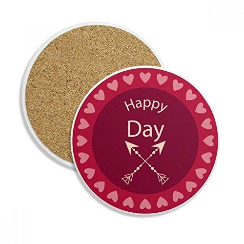 DIYthinker Happy Day Crossing Pfeile Herz-Stein-Getränk Keramik-Untersetzer für Becher-Schalen-Geschenk 2pcs -