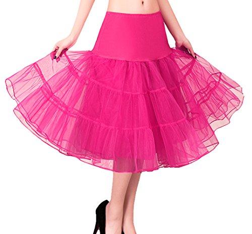 Imixcity Femme 50s Rétro Année Rockabilly TUTU Jupon Balançoire Crinoline Petticoat Underskirts 3 Layers Rose Rouge