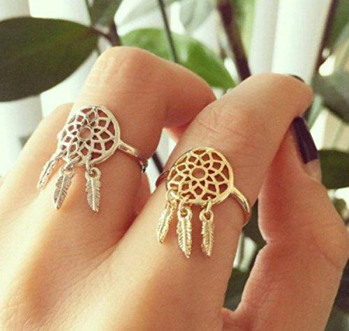 check-out ef29d 97fdc Dasuke anelli piume pendenti acchiappasogni wish anello ...