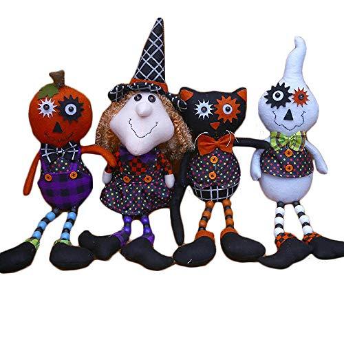 Yyzhx Gruselige weiße Schwarze Katze Halloween Weihnachten Geschenk Spielzeug Weihnachten Horror Nacht Hexe Plüsch Puppe Dekoration