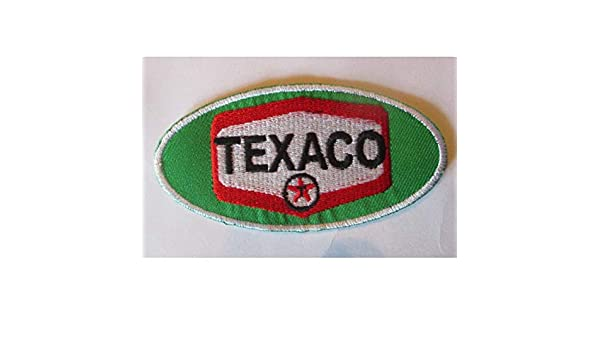 Patch Texaco wei/ß runde Form Essenz /Öl Garage Deko Aufn/äher Hotrodspirit