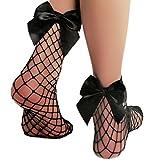 Toocool - Calzini donna collant a rete larga caviglia fiocco raso gambaletto nuovi 1121 [Taglia unica,nero]