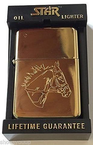 Horse Head Petrol Gold Star Lighter (Template
