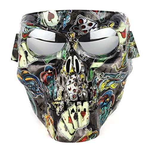 Galvanik Schädel Gesichtsmaske mit Winddichter Reitbrille für Airsoft Halloween ()