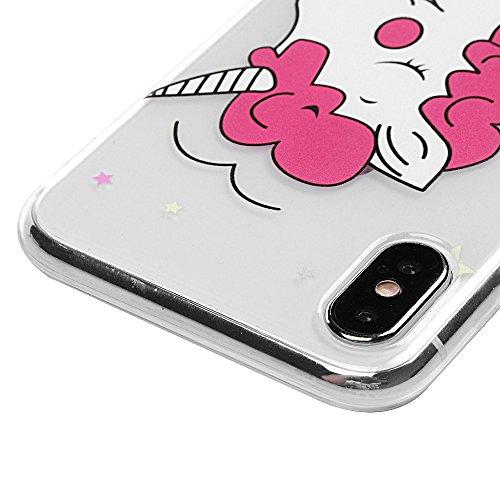 Coque iPhone X Mavis's Diary Étui Housse TPU Silicone Gel Coque de Protection Transparente Phone Case Cover Antichoc Protection écran Swag pour iPhone X Edition Ultra Fine Léger Mince Souple + Stylet  Licorne