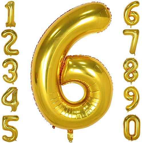 CHANGZHONG 40-Zoll 0-9 in Gold Nummer Foil Ballons Helium Zahlenballon Luftballon Riesenzahl Party Hochzeit Kindergeburtstag Geburtstag Nummer 6