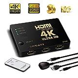 HDMI Switch Hub 4 K UHD ,3 porte Switcher HDMI commutatore automatico with IR Remote, supporto HDCP 3d, CEC, Arc, Full HD 1080P, Ultra HD 2160p, Risoluzione: fino a 4 K a 30 Hz For PC, laptop, Xbox