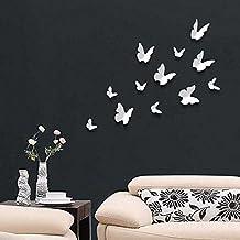 Walplus 3D Butterflu-White - Adesivi murali 3D, motivo: farfalle, 12 pezzi, colore: Bianco