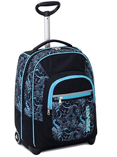 Trolley fit seven , kylin , nero blu  , 35 lt , 2in1 zaino  con spallacci a scomparsa , scuola & viaggio