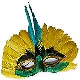 Maschera di carnevale brasiliana volto veneziano con piume ballerina Samba Rio accessorio per ballo in maschera -