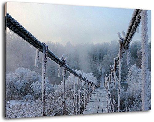 Hängebrücke im Winter Format:120x80 cm Bild auf Leinwand bespannt, riesige XXL Bilder komplett und fertig gerahmt mit Keilrahmen, Kunstdruck auf Wand Bild mit Rahmen, günstiger als Gemälde oder Bild, kein Poster oder Plakat
