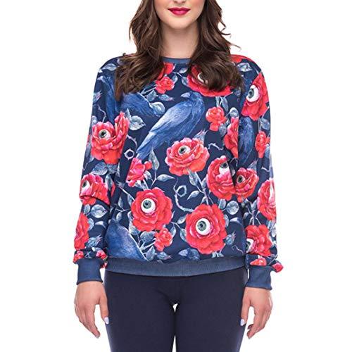 VEMOW Halloween Party Damen beiläufige Feste Lange Hülse Strass O-Ausschnitt Pullover Hoodies T-Shirt Top Bluse(Rot, EU-44/CN-XL)