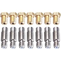 Tenlacum - Juego de 7 boquillas de acero inoxidable de 1,75 mm con tubo PTFE y 7 cabezales de impresión M6 3D de latón para impresora (0,2 mm, 0,3 mm, 0,4 mm, 0,5 mm, 0,6 mm, 0,8 mm, 1,0 mm, 1 unidad de cada tamaño) para impresoras 3D E3D V6 Makerbot