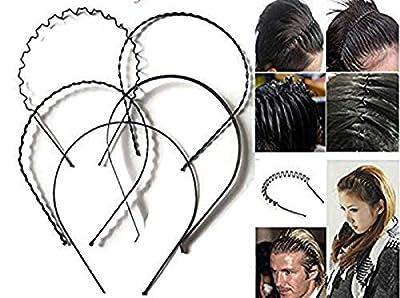 Manasvini Men's and Women's Metal Hair Bands (Black) - Combo Set of 5