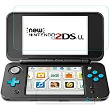 TUTUO Protector de Pantalla para Nintendo New 2DS XL Vidrio Templado 9H para Pantalla Superior*1, Película de PET HD Transparente para Pantalla Inferior *2, Alta Definición de Cobertura Completa