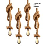#3: Quace Head Vintage Hemp Rope Pendant Light Fixture 110V-220V (4 Units, 1 M)